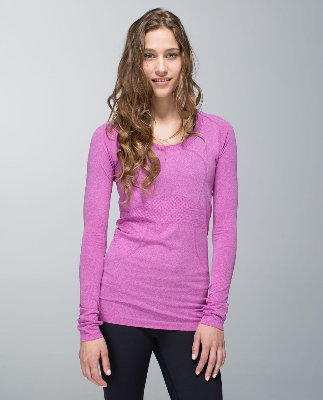 Lululemon Run:  Swiftly Tech Long Sleeve Scoop - Heathered Ultra Violet