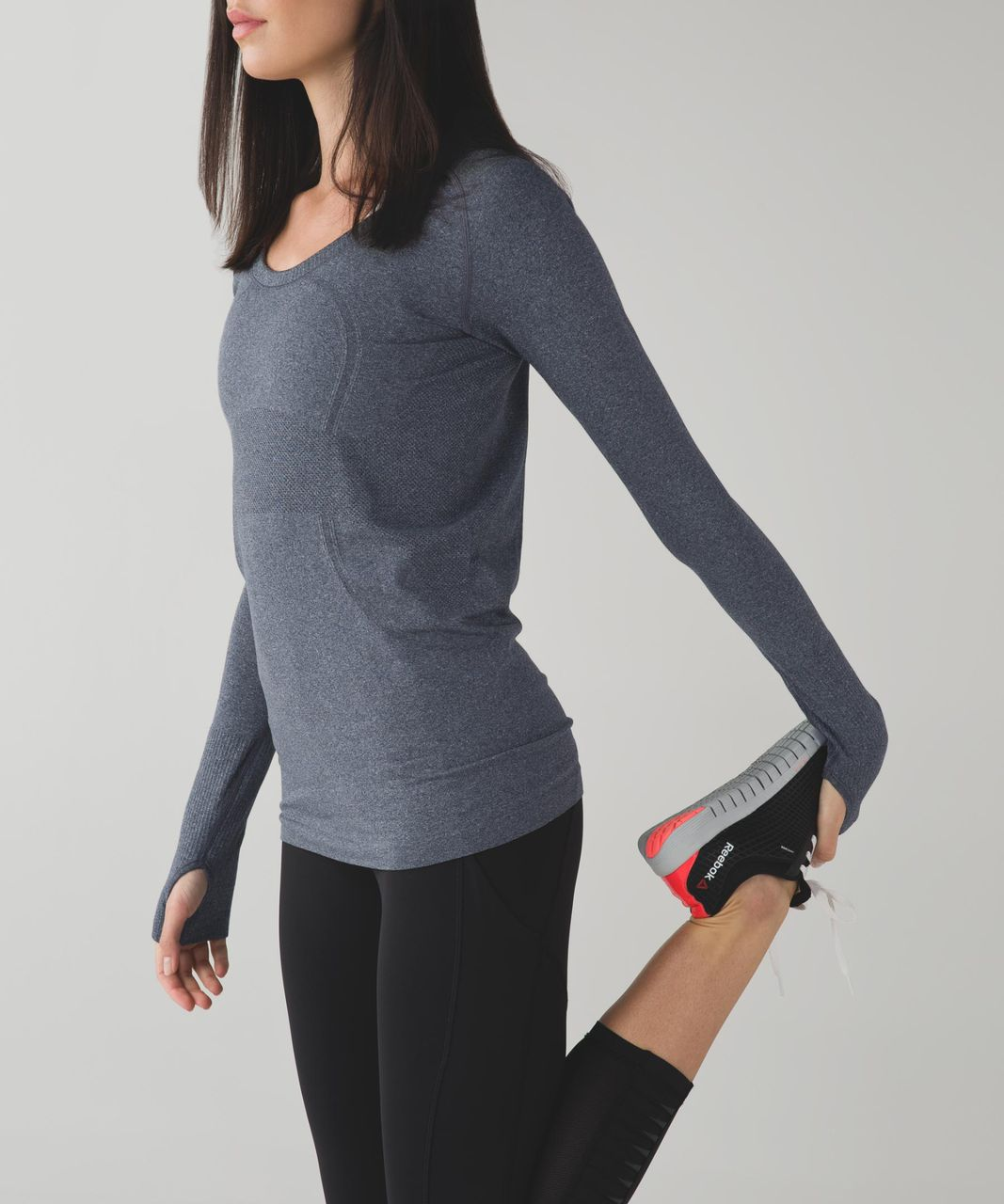 Lululemon Run:  Swiftly Tech Long Sleeve Scoop - Heathered Black
