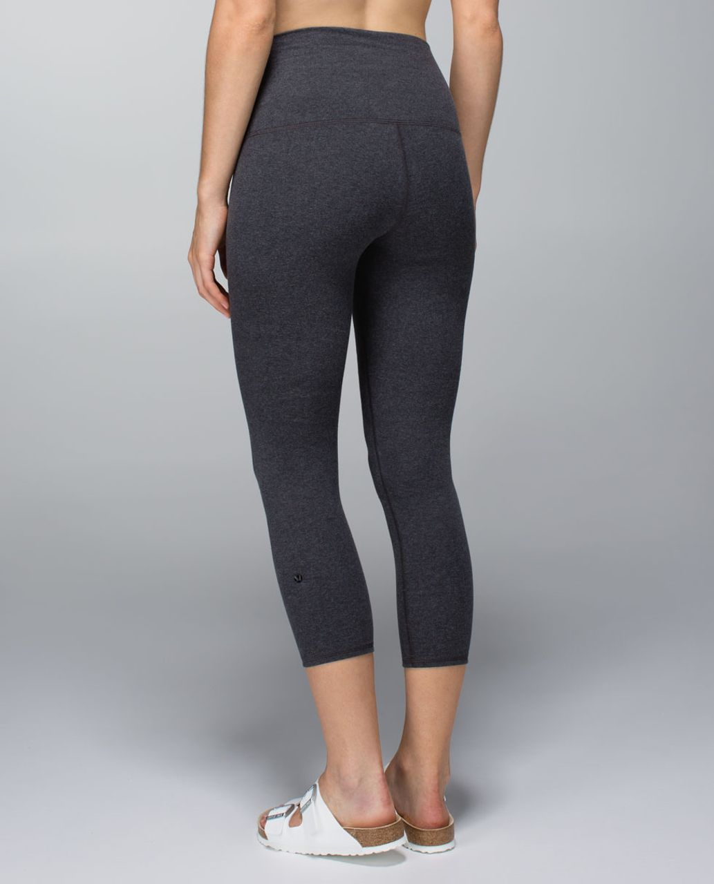 Lululemon Wunder Under Crop *Cotton (Roll Down) - Heathered Black