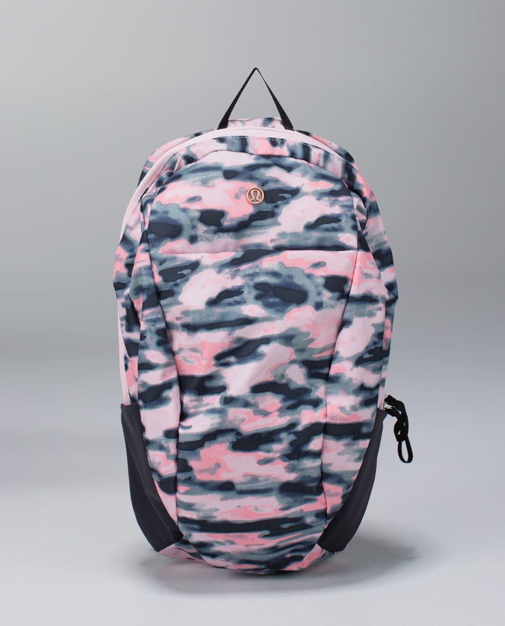 Lululemon Run From Work Backpack - Wamo Camo Barely Pink / Deep Coal