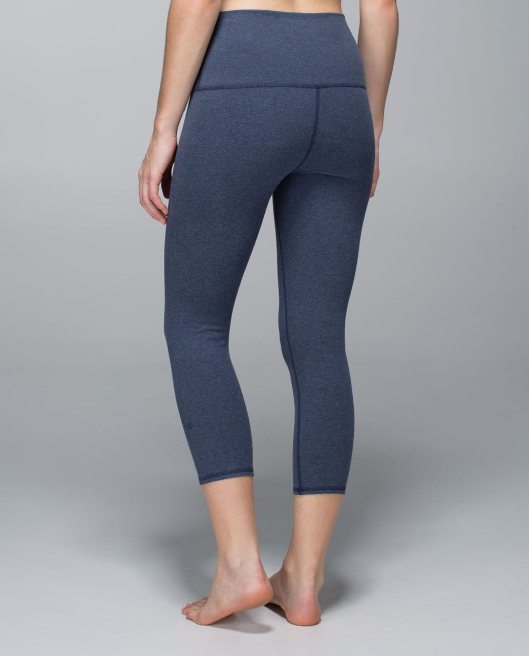 Lululemon Wunder Under Crop *Cotton (Roll Down) - Heathered Cadet Blue