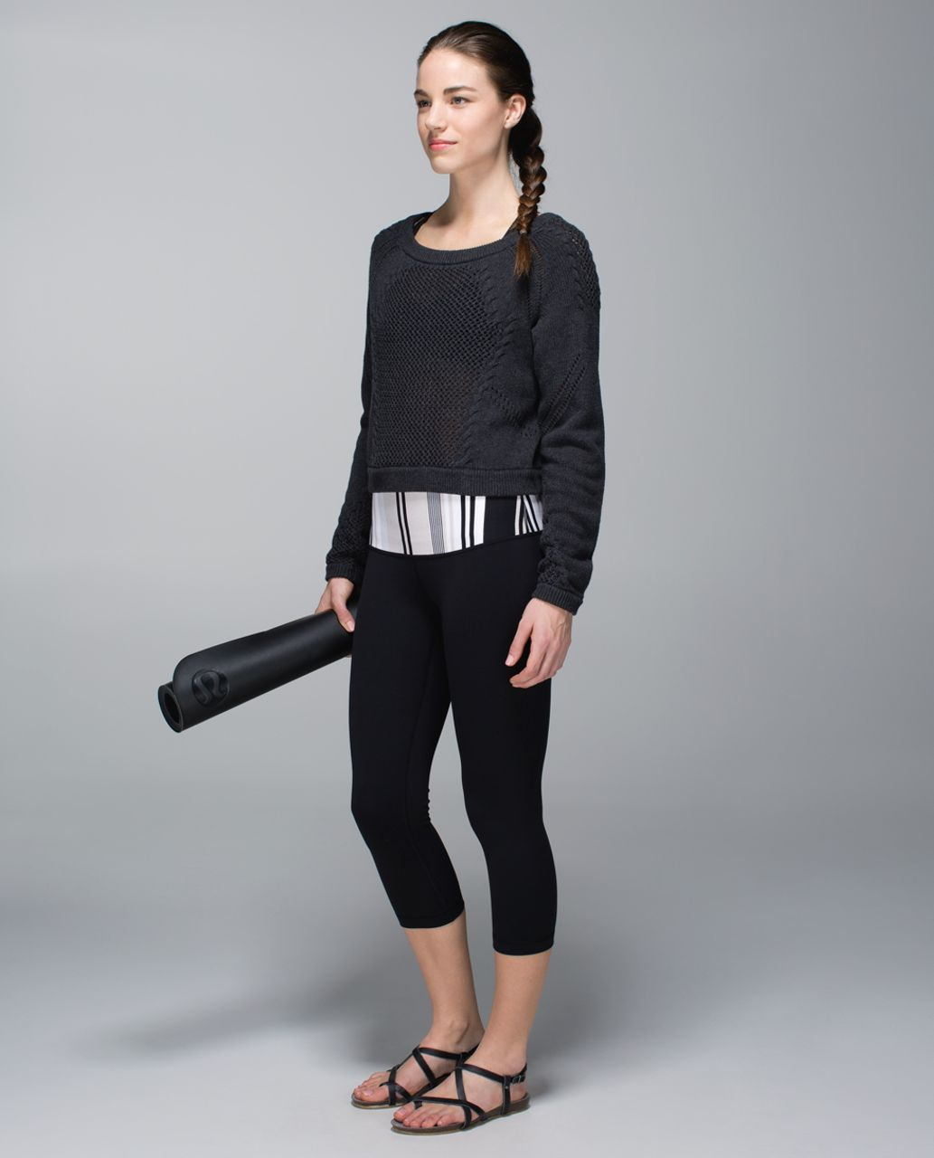 Lululemon Wunder Under Crop *Full-On Luon (Roll Down) - Black / Groovy Stripe Static Wave Dune