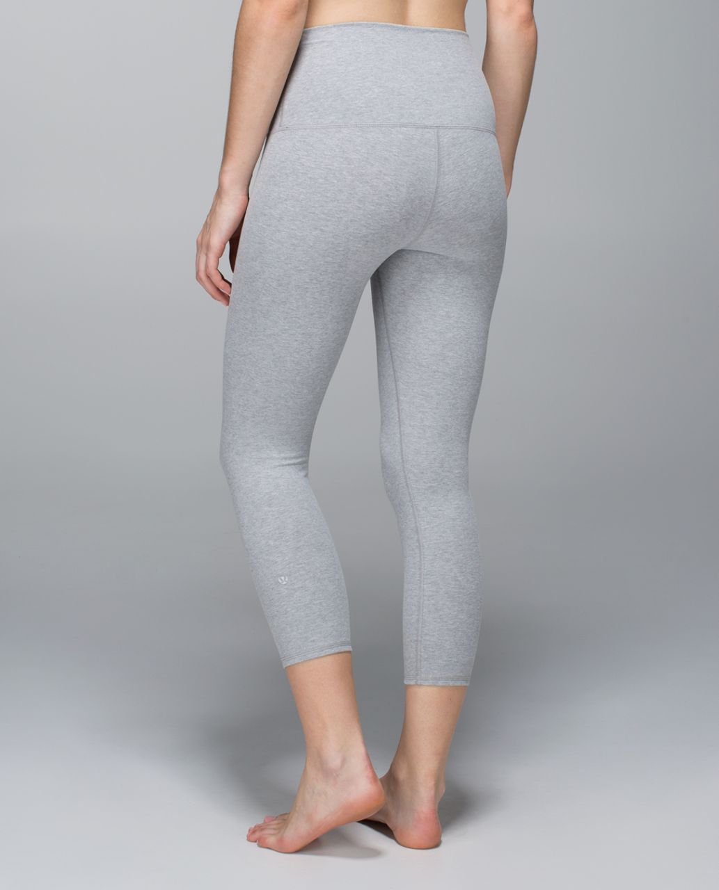 Lululemon Wunder Under Crop *Cotton (Roll Down) - Heathered Medium Grey / Heathered Light Grey