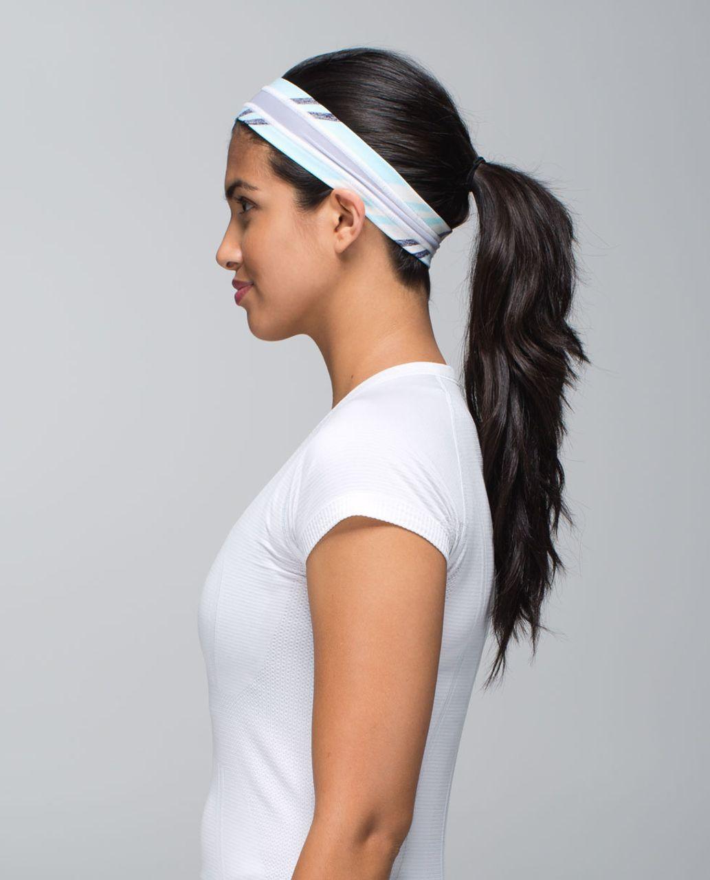 Lululemon Fly Away Tamer Headband *Mesh - Groovy Stripe Static Wave Cadet Blue / White