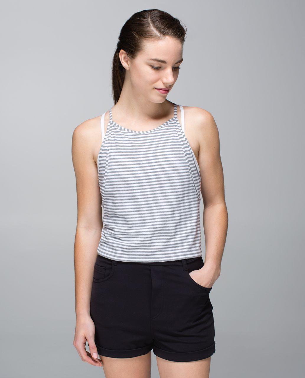 Lululemon Vita Loca Tank - Classic Stripe White Heathered Medium Grey