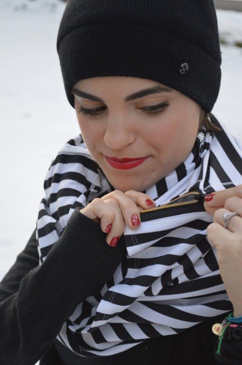 Lululemon Vinyasa Scarf *Zips - Apex Stripe Black White