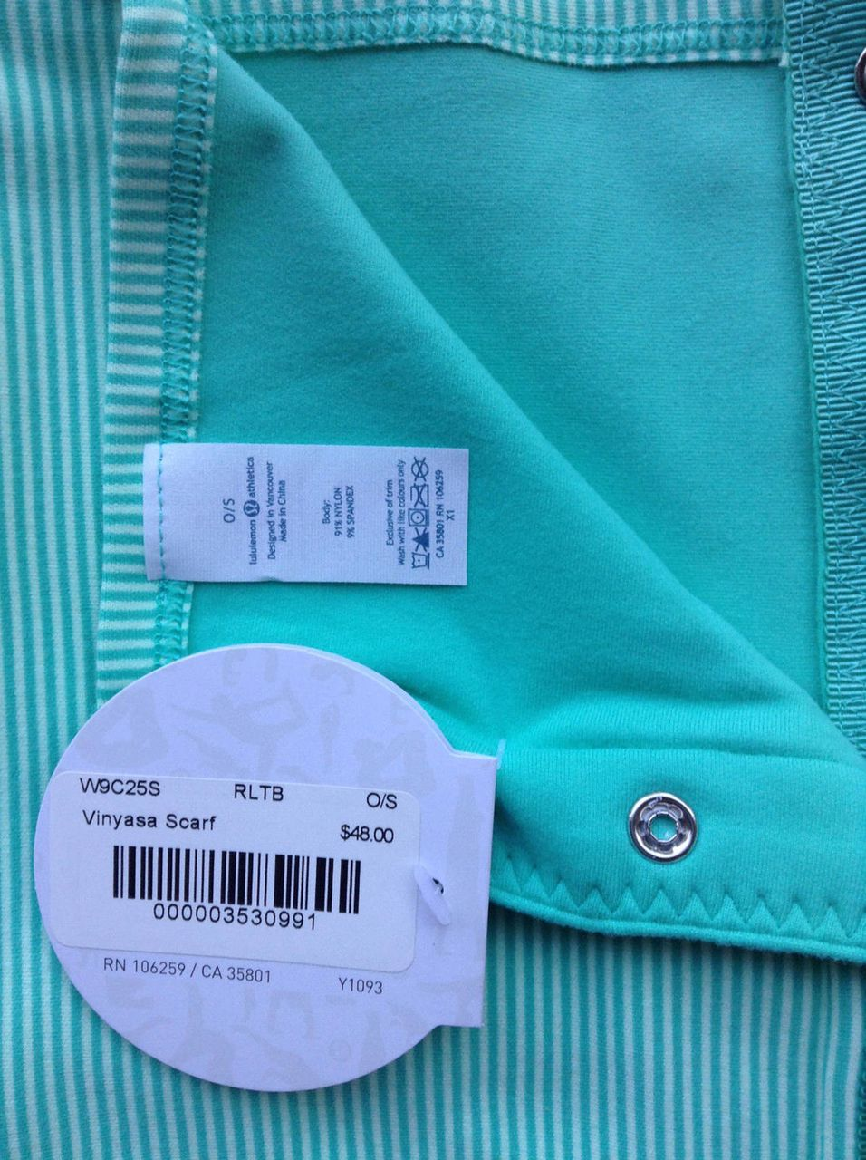 Lululemon Vinyasa Scarf *Rulu - Bali Breeze / Tonka Stripe Bali Breeze Fresh Teal