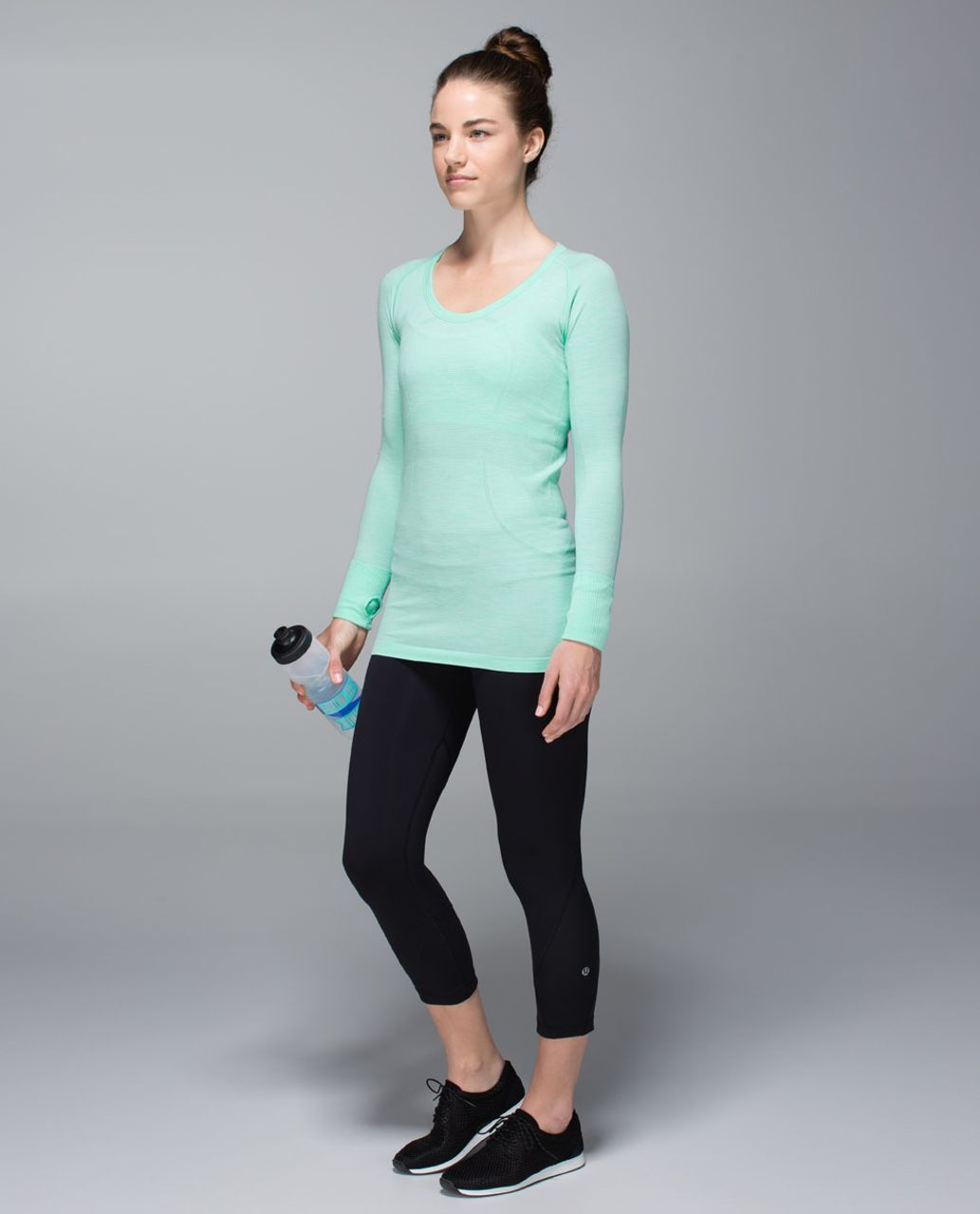 Lululemon Run:  Swiftly Tech Long Sleeve Scoop - Heathered Opal