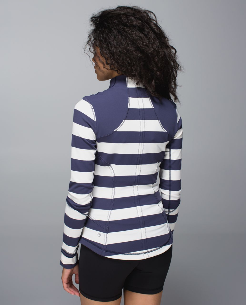 Lululemon Forme Jacket *Cuffins - Steep Stripe Cadet Blue Horizontal / Cadet Blue
