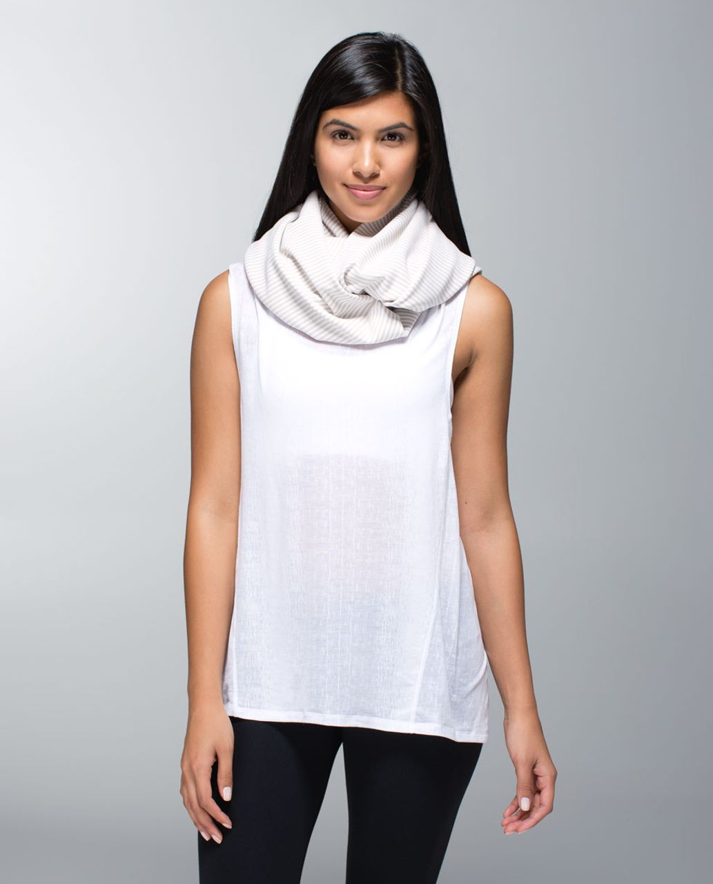Lululemon Vinyasa Scarf *Rulu - Heathered Cashew / 1/8 Stripe Heathered Cashew White