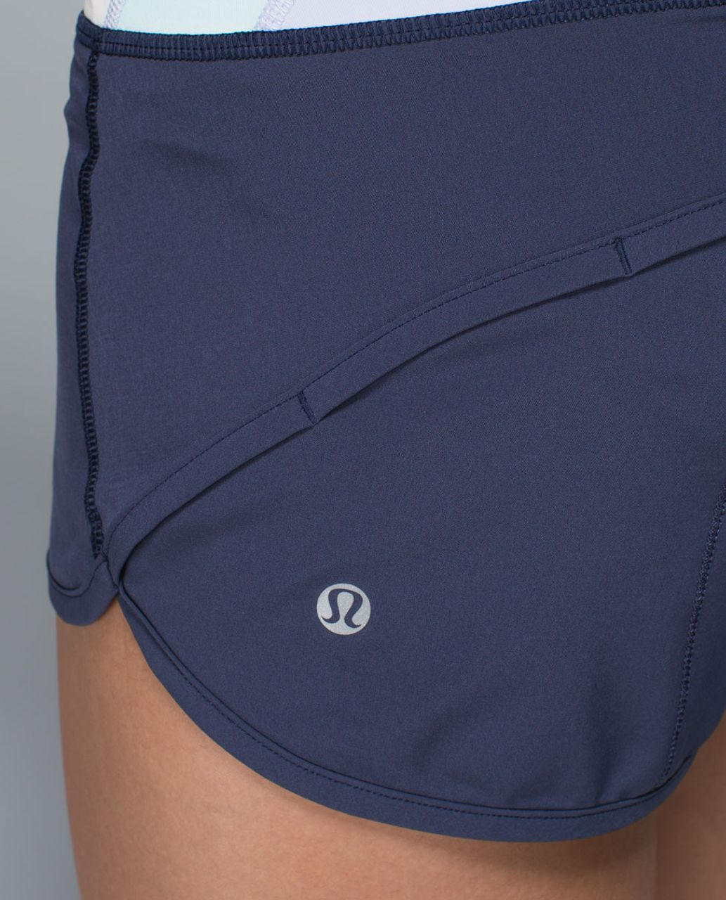 Lululemon Run:  Speed Short *4-way Stretch - Cadet Blue / Su14 Quilt 32