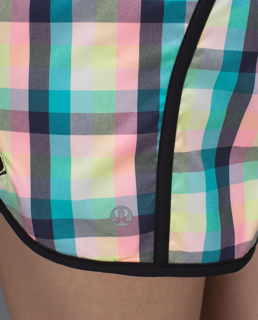 Lululemon Tracker Short II *2-way Stretch - Wee Wheezy Check Bleached Coral Cadet Blue / Black