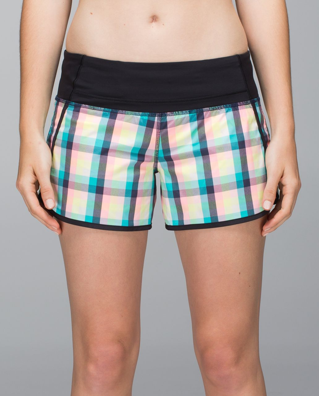 Lululemon Run Times Short *2-way stretch - Wee Wheezy Check Bleached Coral Cadet Blue / Black