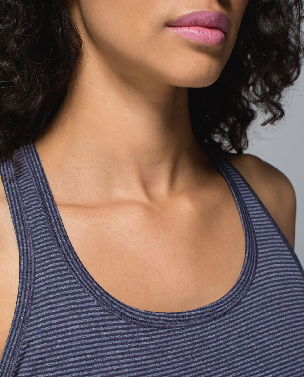 Lululemon Run:  Swiftly Tech Racerback - Heathered Cadet Blue (Second Release - Striped)