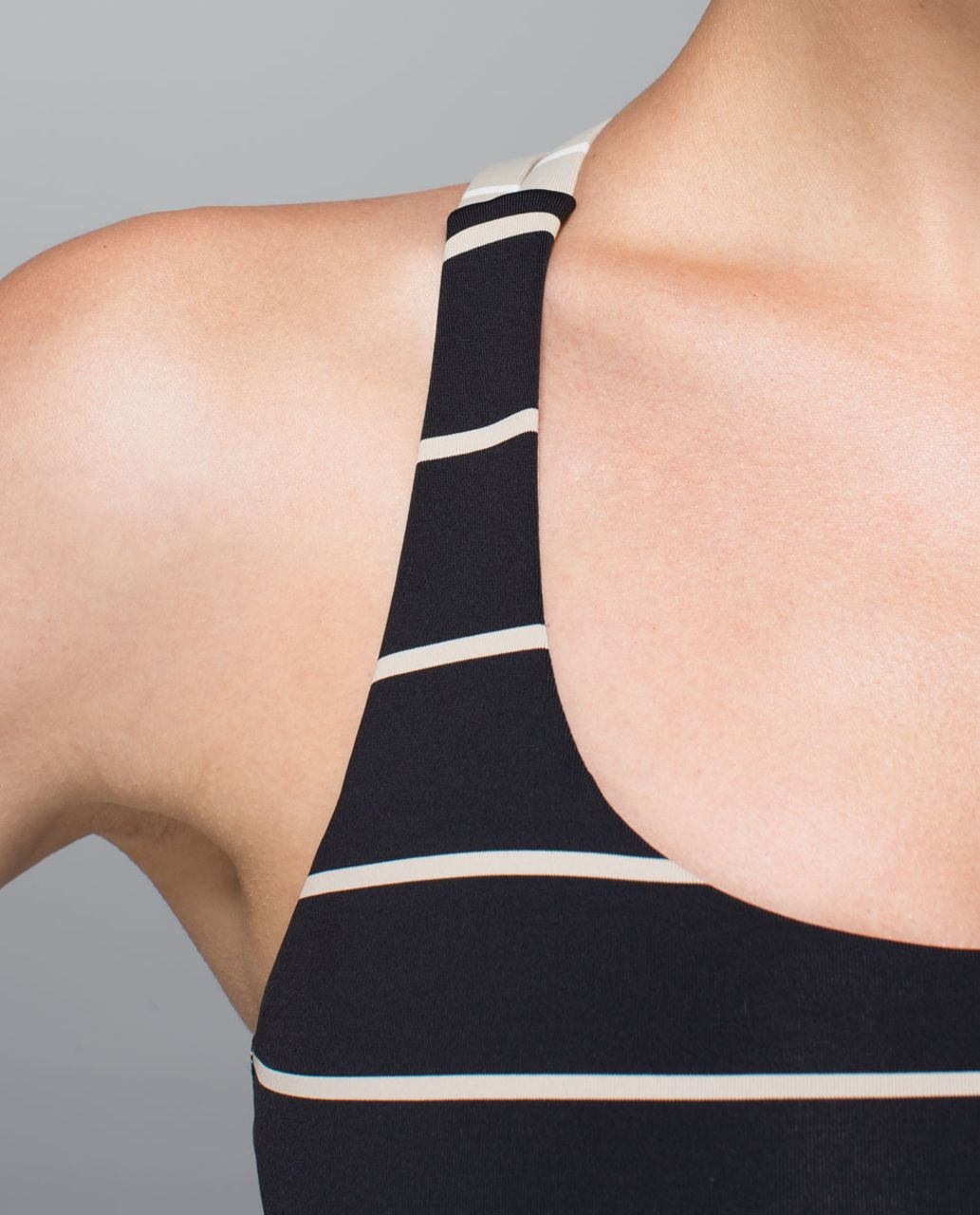 Lululemon Energy Bra - Cayman Stripe Black Mojave Tan / Cayman Stripe Mojave Tan Angel Wing