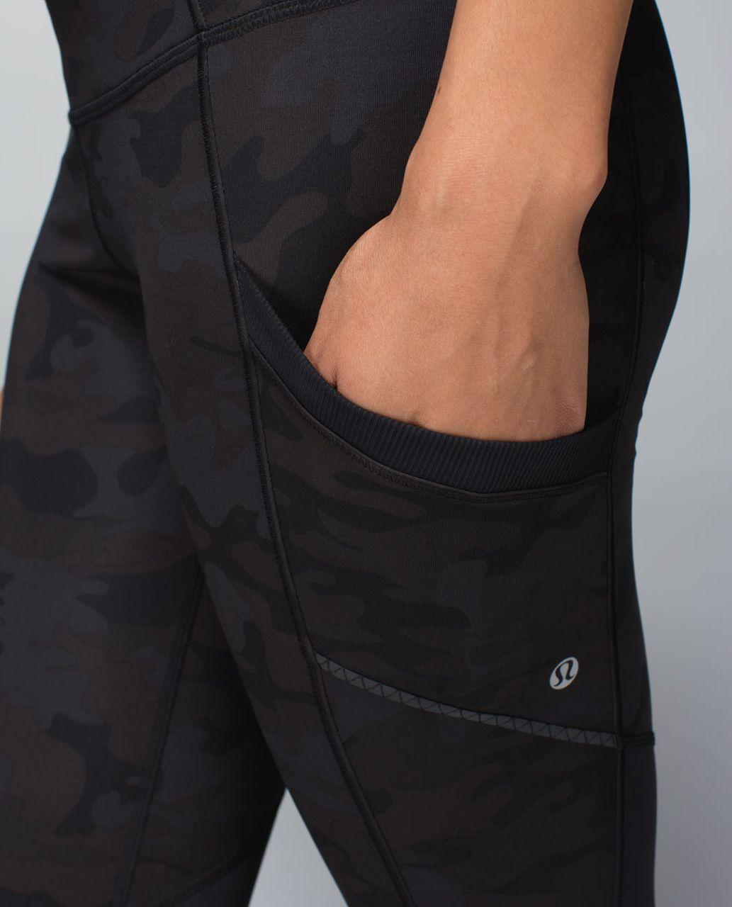 Lululemon Run For Fun Crop *Full-On Luxtreme - Savasana Camo 20cm New Black / Black