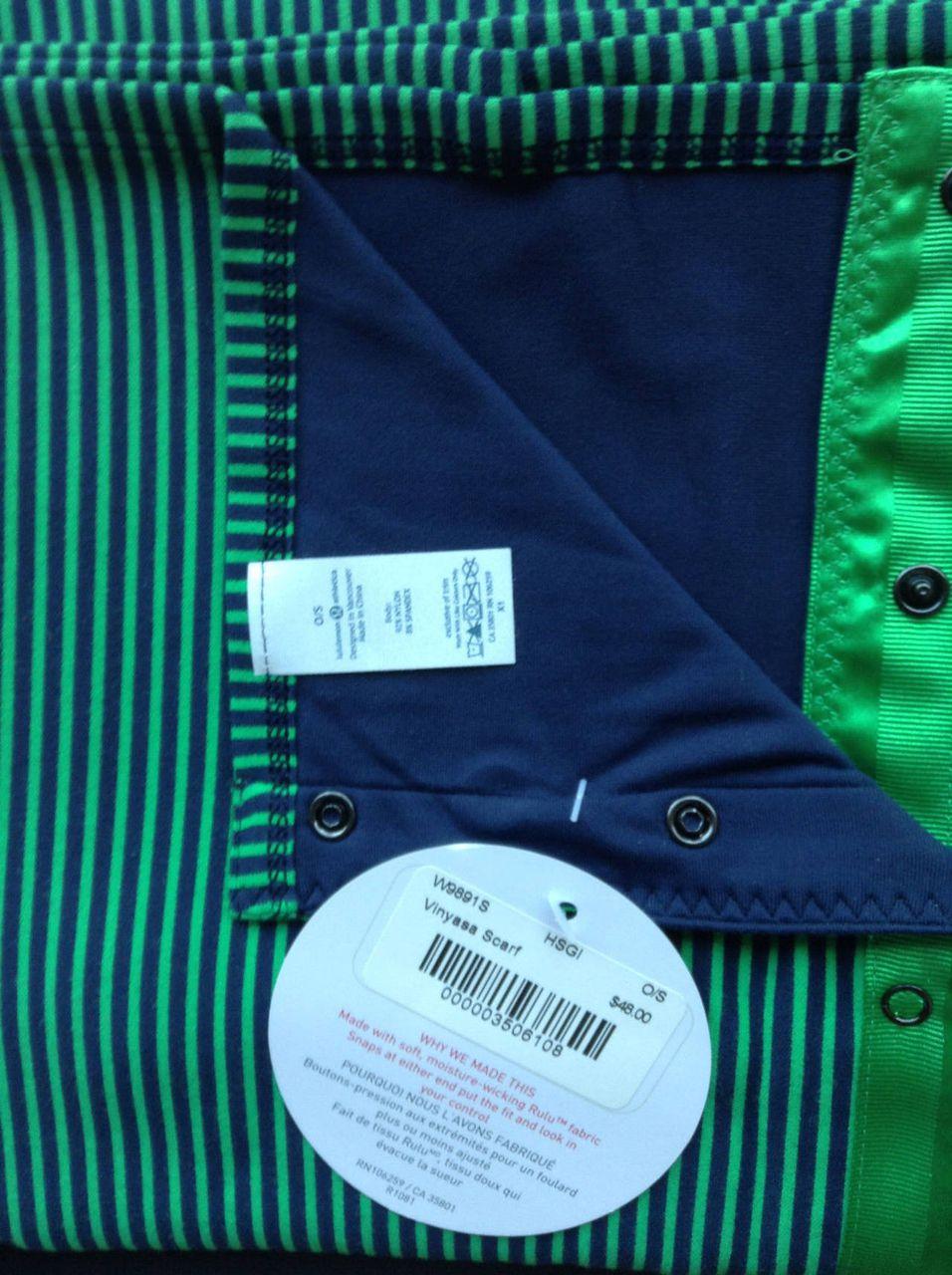 Lululemon Vinyasa Scarf *Rulu - Hyper Stripe Green Bean / Inkwell