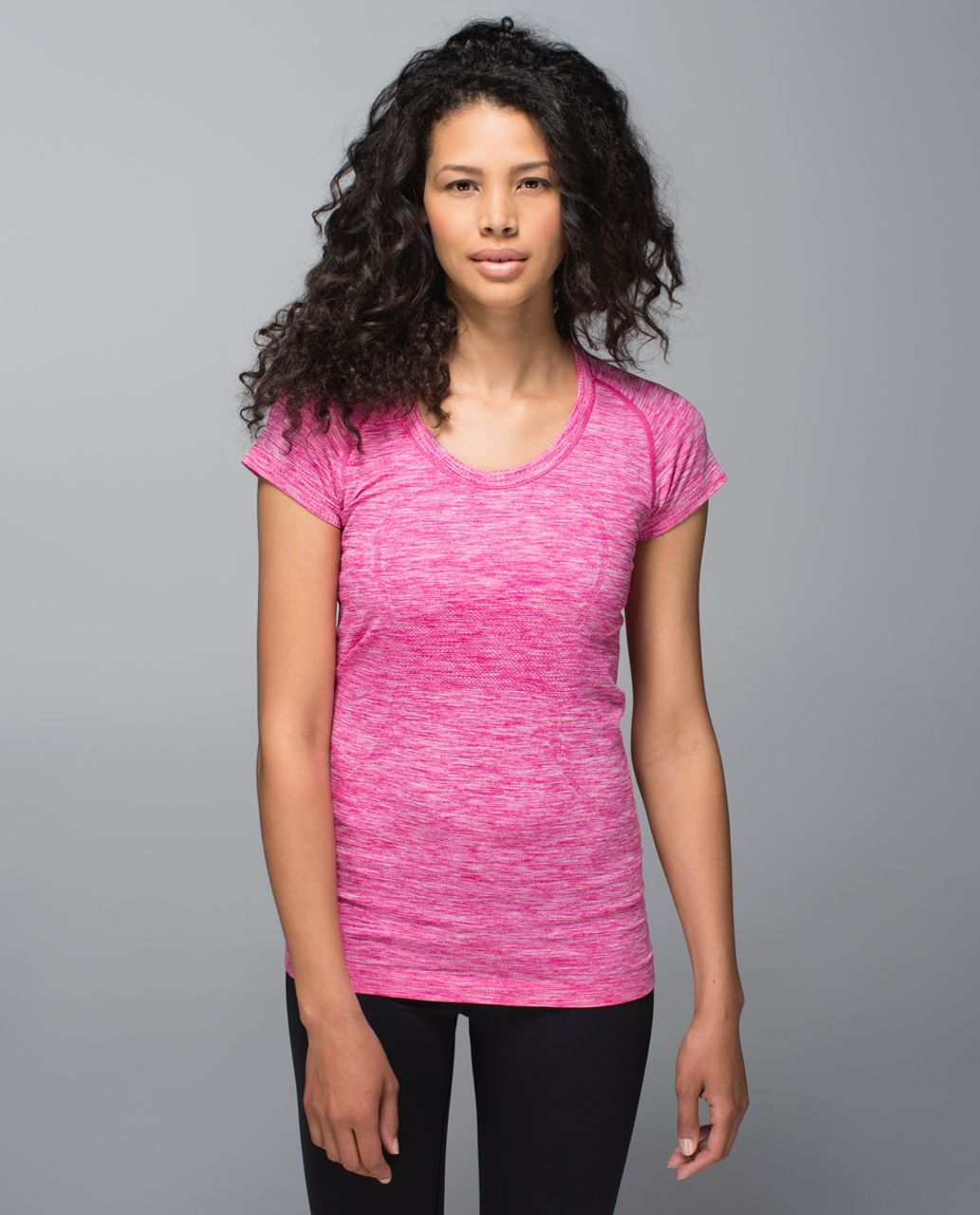 Lululemon Run:  Swiftly Tech Short Sleeve Scoop - Heathered Jewelled Magenta