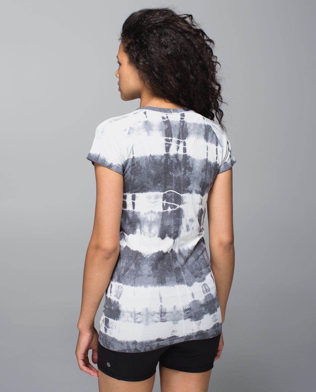 Lululemon Run:  Swiftly Tech Short Sleeve Scoop *Tie Dye - Heathered Black