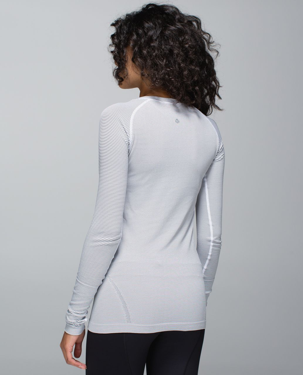 Lululemon Run:  Swiftly Tech Long Sleeve Scoop - Hyper Stripe White