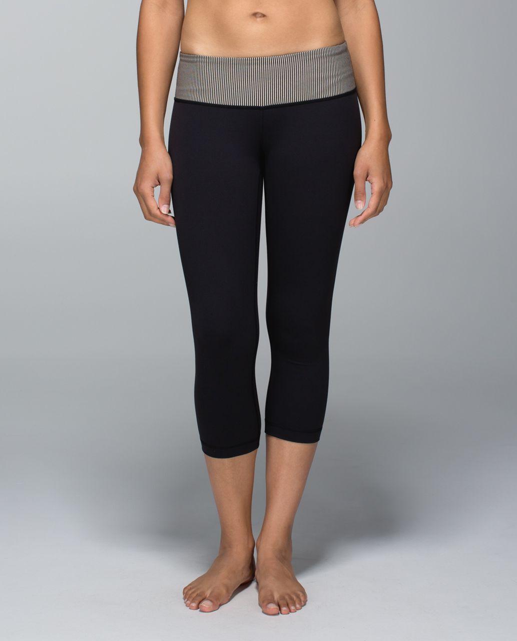 Lululemon Wunder Under Crop *Full-On Luon - Black / Tonka Stripe Heathered Black Mojave Tan