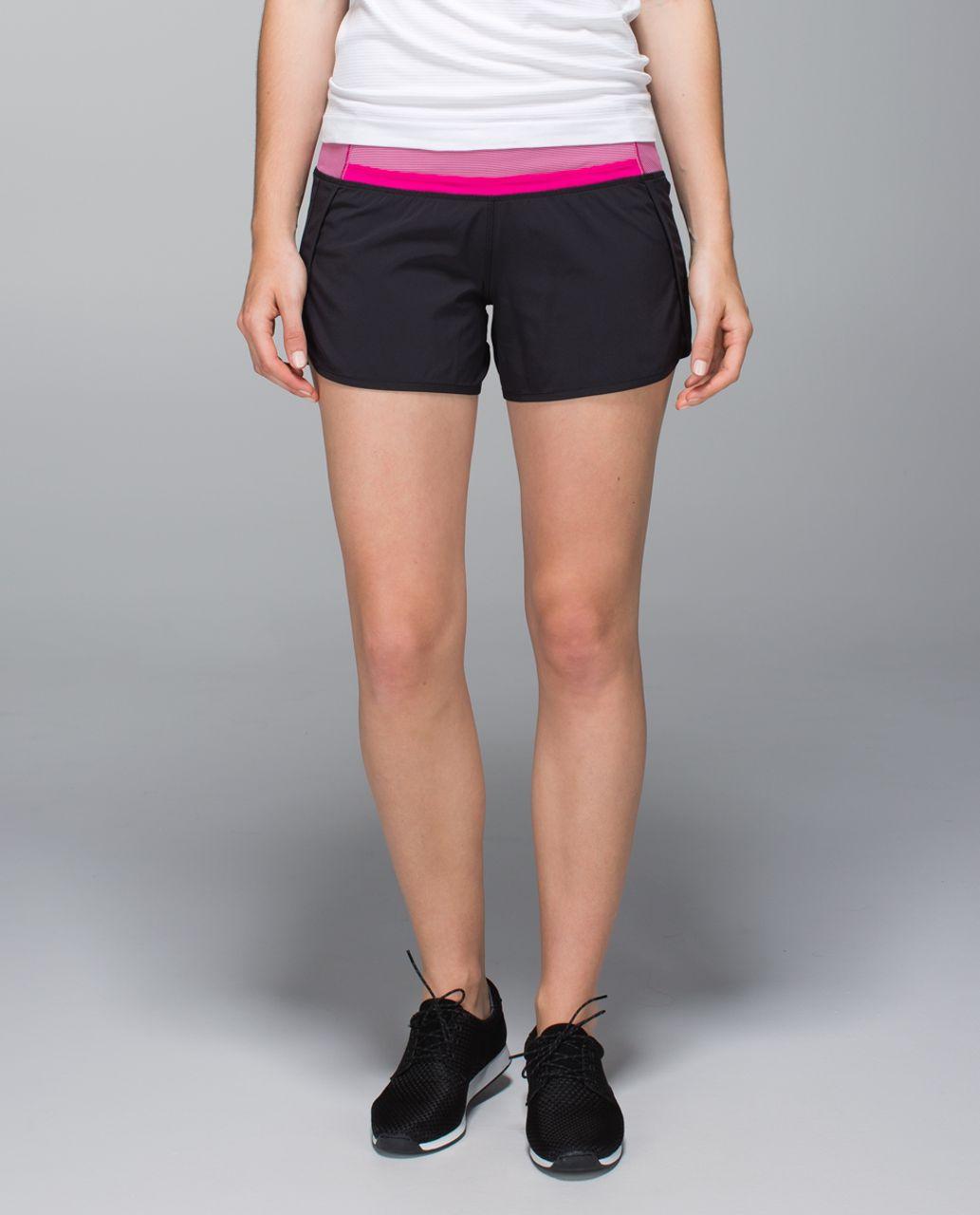 Lululemon Run Times Short *4-way stretch - Black / Wee Stripe Jewelled Magenta / Jewelled Magenta