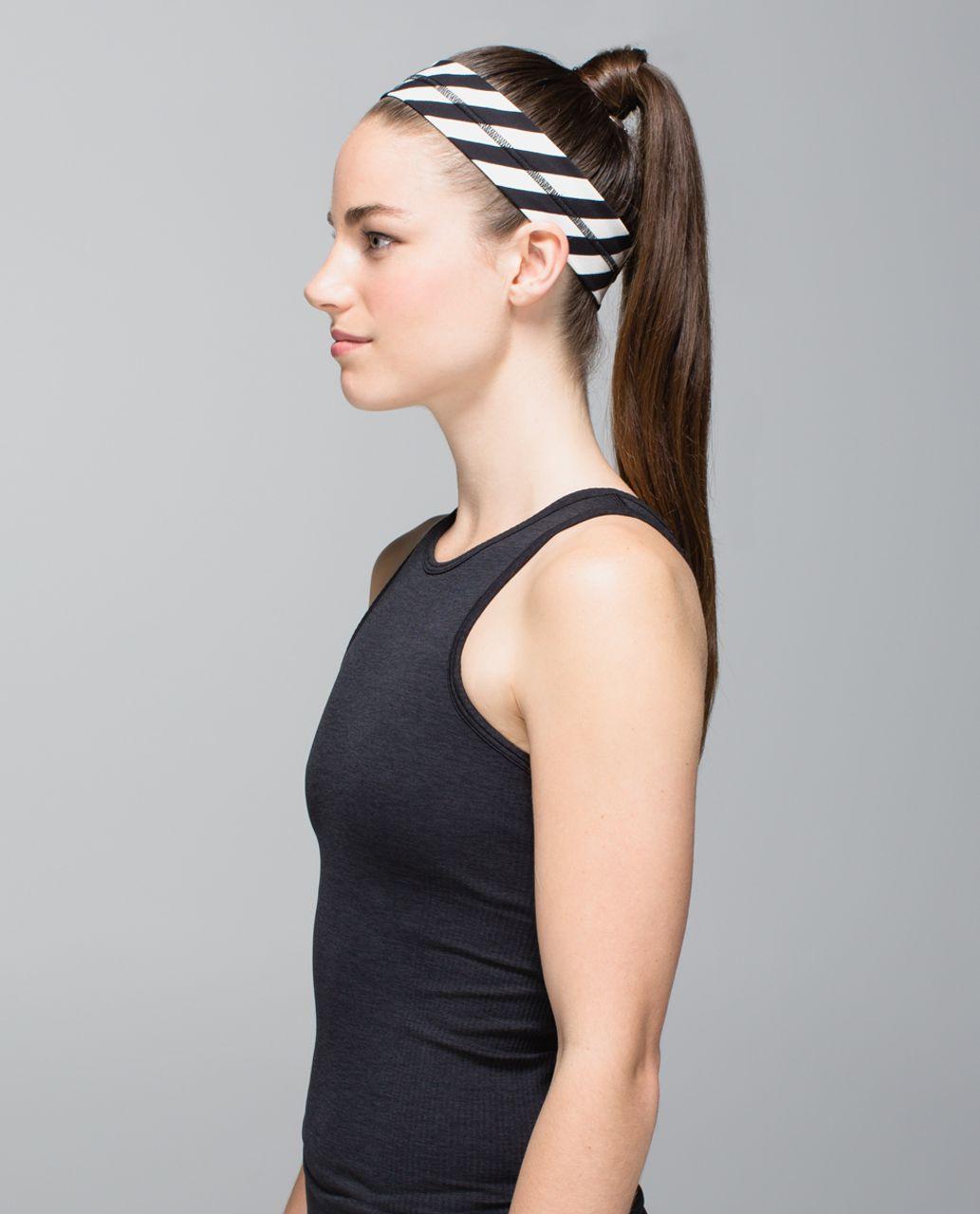 Lululemon Fly Away Tamer Headband - Apex Stripe Black Angel Wing