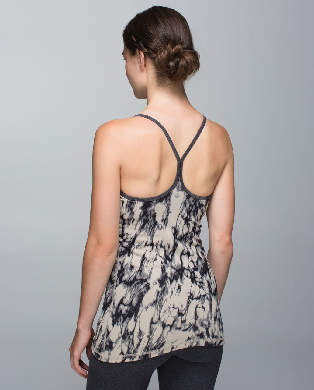 Lululemon Power Y Tank *Luon - Great Granite Black Mojave Tan / Heathered Black