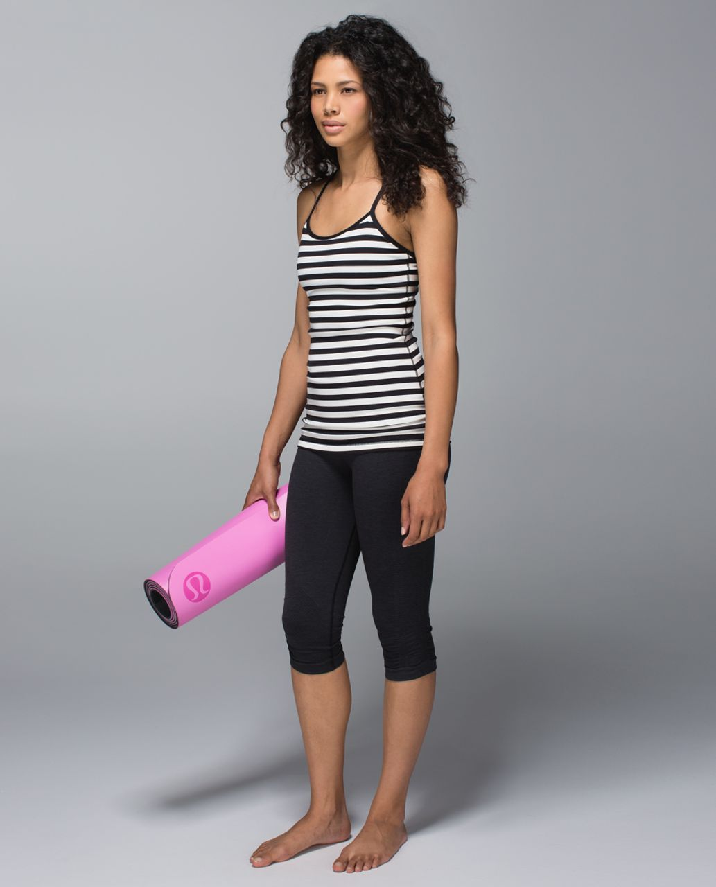 Lululemon Power Y Tank *Luon - Apex Stripe Black Angel Wing / Black