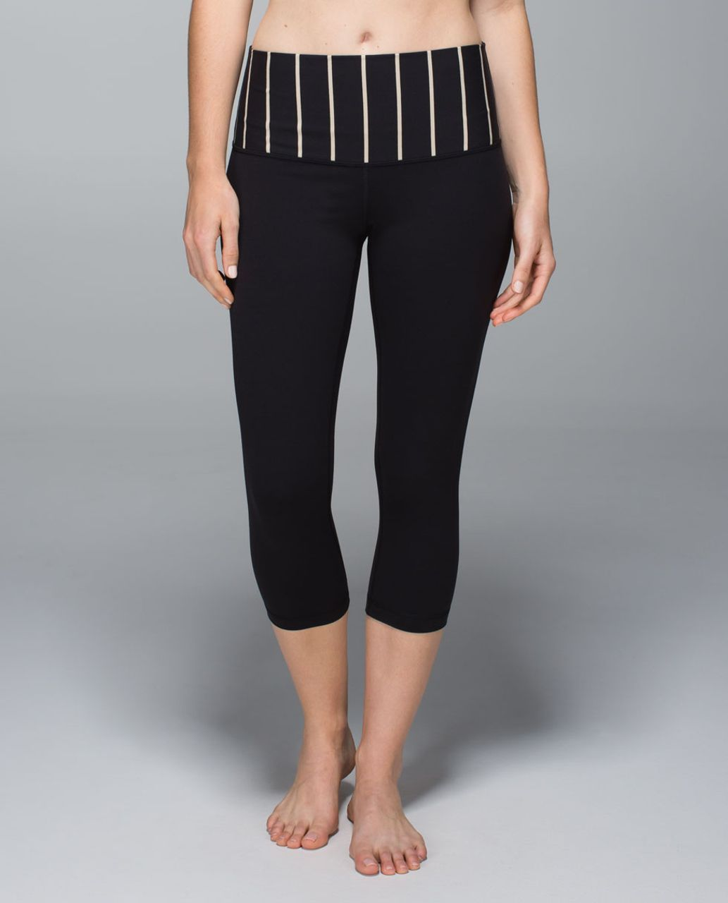 Lululemon Wunder Under Crop *Full-On Luon (Roll Down) - Black / Cayman Stripe Black Mojave Tan
