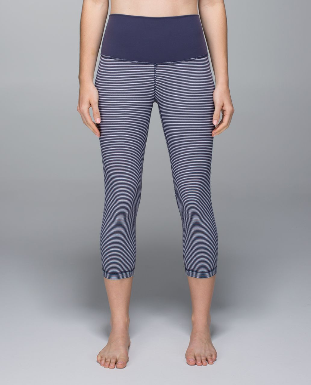 Lululemon Wunder Under Crop *Full-On Luon (Roll Down) - Super Stripe Cadet Blue White / White / Cadet Blue