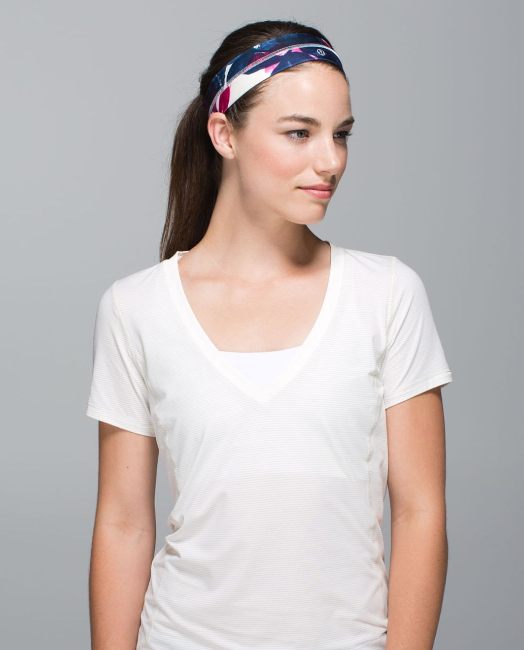 Lululemon Fly Away Tamer Headband - Inky Floral Ghost Inkwell Bumble Berry