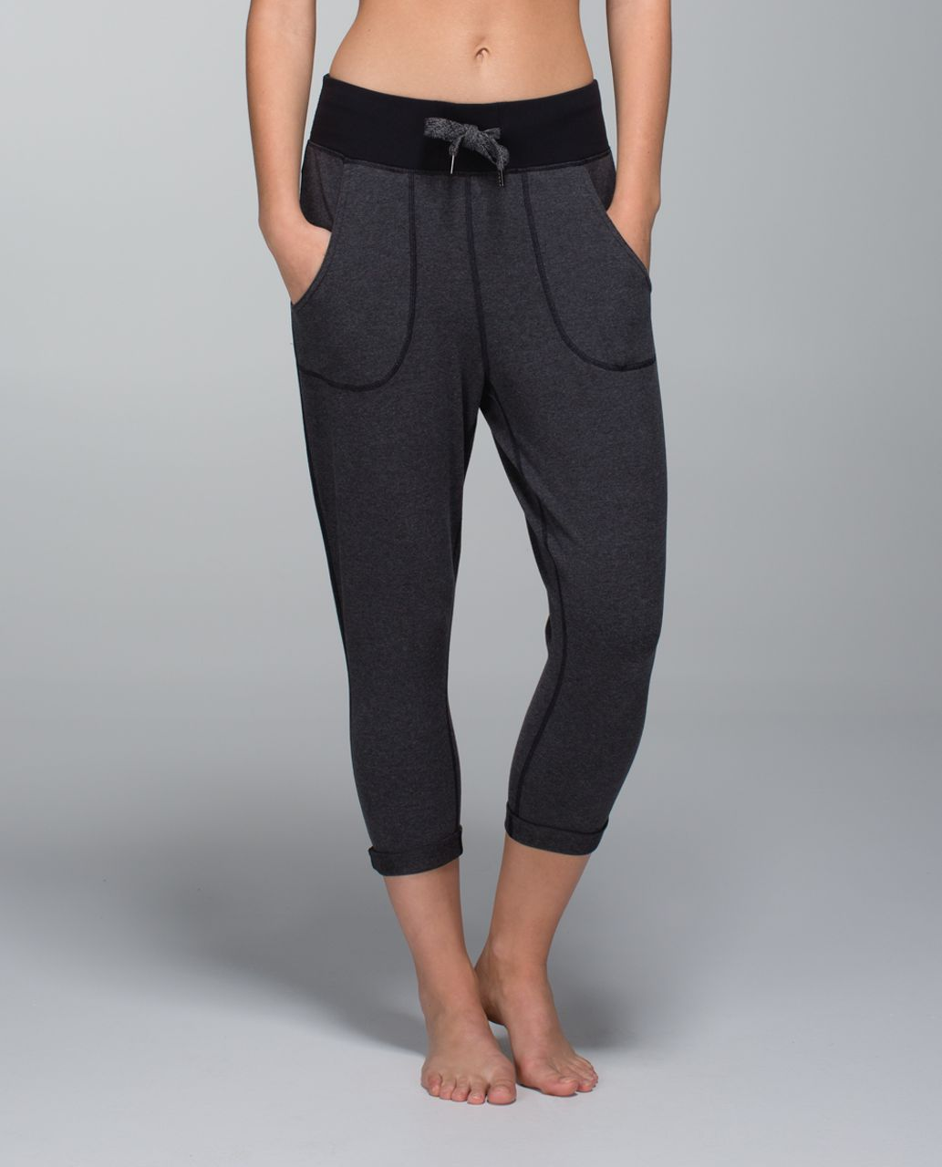 8fb86025d5 Lululemon Free Fall Crop - Heathered Black - lulu fanatics