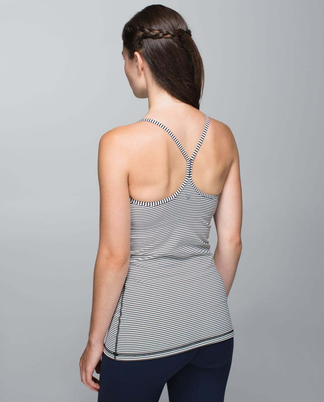 Lululemon Power Y Tank *Luon - Hyper Stripe Black Ghost