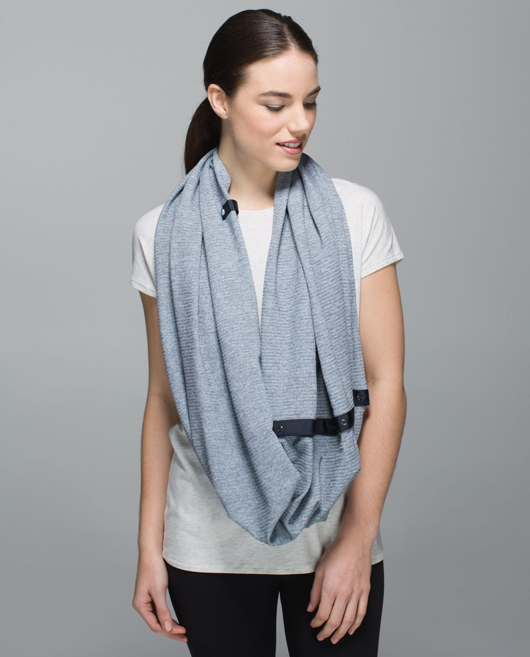 Lululemon Vinyasa Scarf *Rulu - Mini Check Pique Caspian Blue Heathered Inkwell