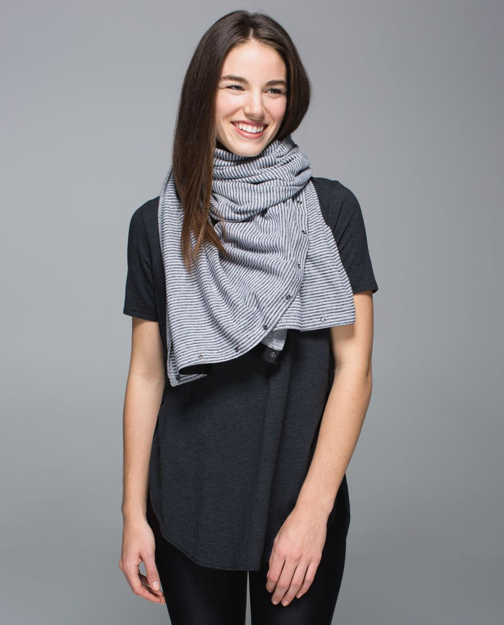 Lululemon Vinyasa Scarf *Rulu - Mini Check Pique White Heathered Black