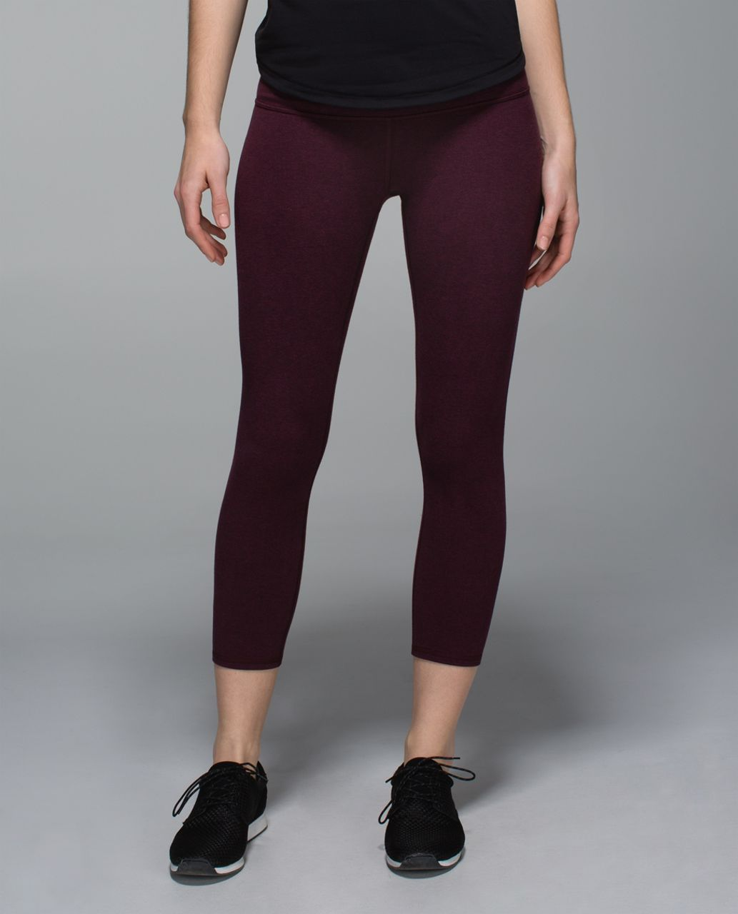Lululemon Wunder Under Crop II *Cotton (Roll Down) - Heathered Bordeaux Drama
