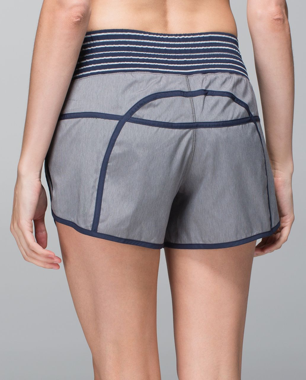 Lululemon Tracker Short II *4-way Stretch - Heathered Slate / Inkwell / West2east Stripe Inkwell Heathered Medium Grey