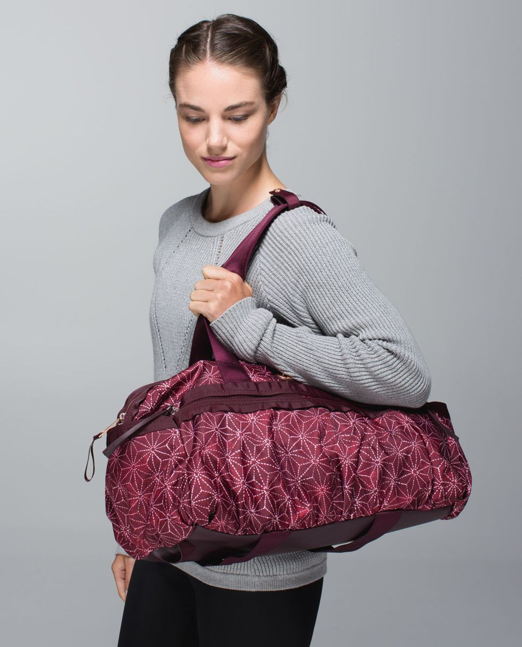 411b2fdbadf Lululemon Gym To Win Duffel *Polyester - Exploded Sachico Star Bordeaux  Drama Ghost / Bordeaux