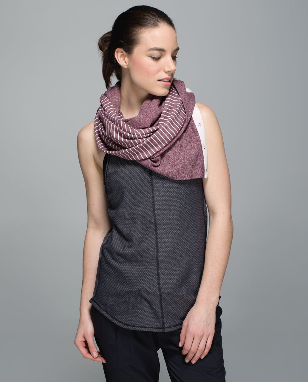 Lululemon Vinyasa Scarf *Rulu - Parallel Stripe Butter Pink Heathered Bordeaux Drama / Heathered Bordeaux Drama