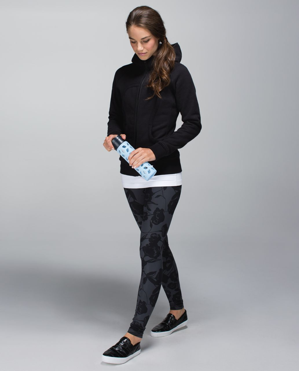 Lululemon Wunder Under Pant *Full-On Luxtreme (Roll Down/Print) - Flat Inky Floral Printed Black Deep Coal