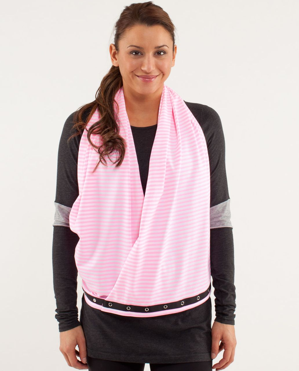 Lululemon Vinyasa Scarf *Luon Light - Classic Stripe White Pink Shell