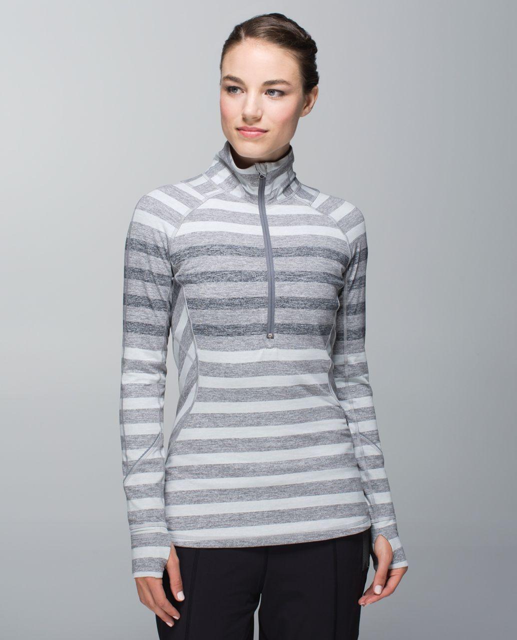 Lululemon Race Your Pace 1/2 Zip - Marshmallow Stripe Heathered Slate