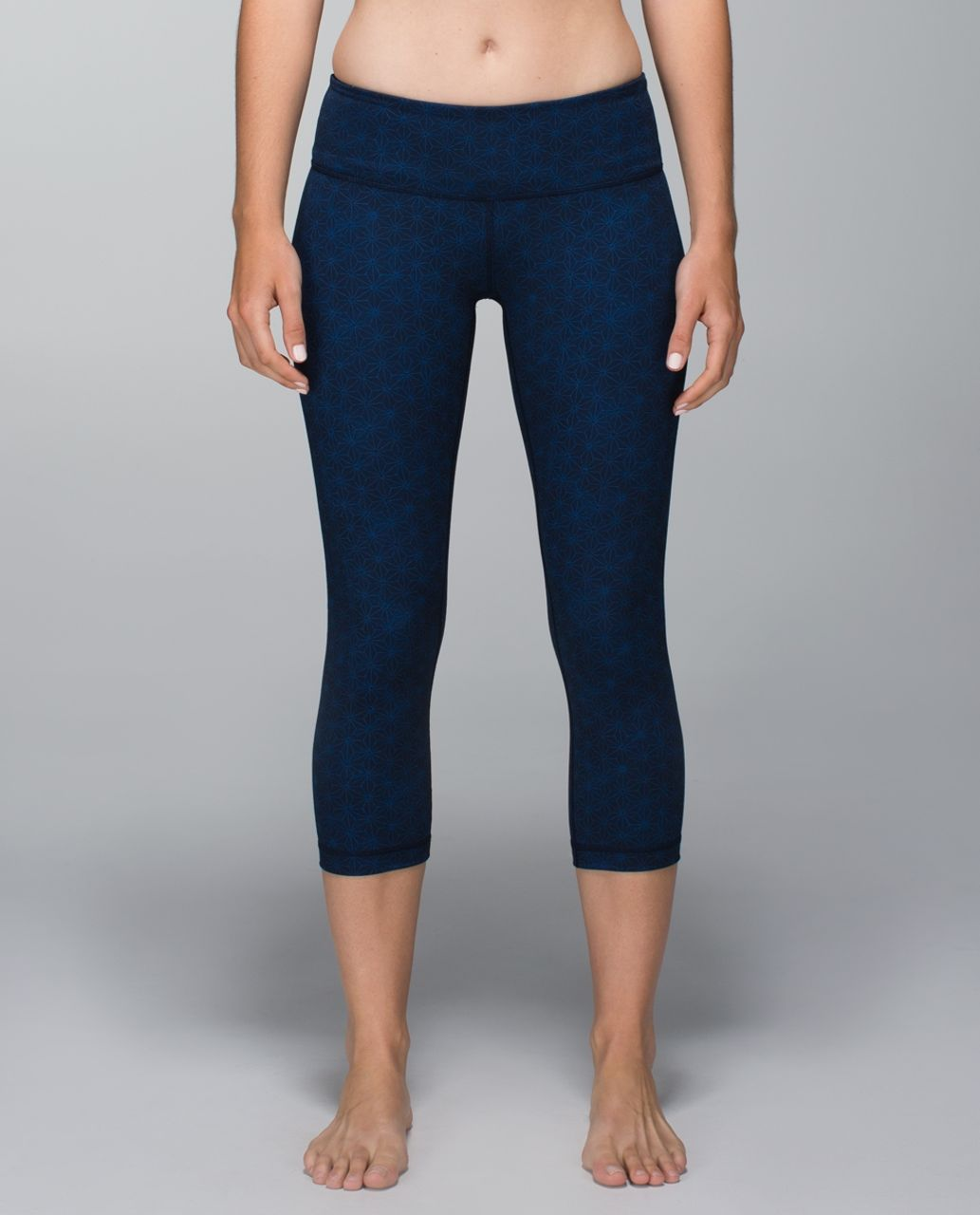 Lululemon Wunder Under Crop II *Full-On Luon (Print) - Sashico Star Inkwell Rugged Blue / Sashico Cross Inkwell Rugged Blue