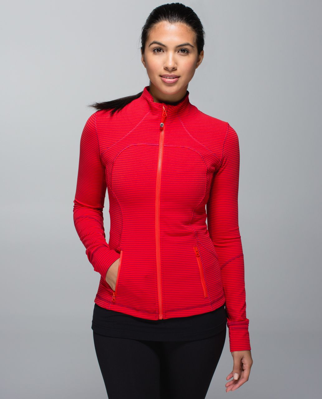 Lululemon Forme Jacket (Cuffins) - Hyper Stripe Bumble Berry Flaming Tomato