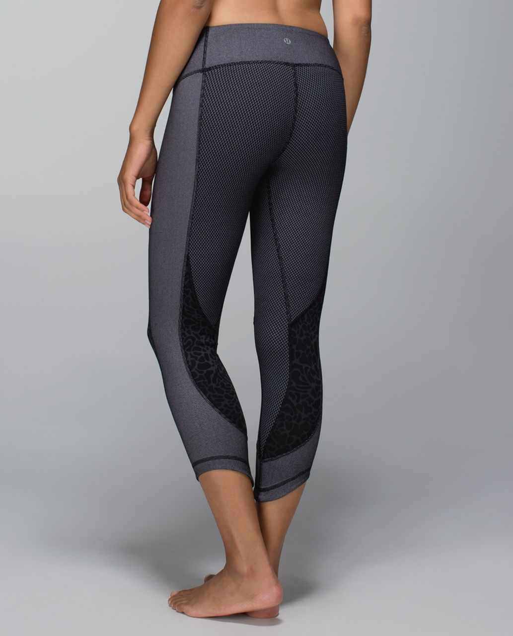 Lululemon Wunder Under Crop *Sashiko - Diamond Dot Black White / Black / Petal Camo Printed Black Deep Coal