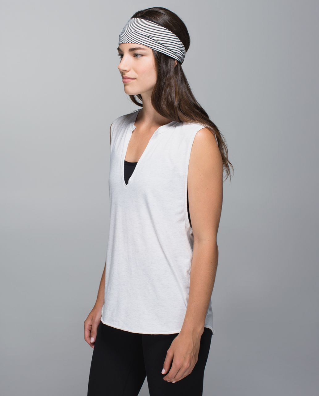 Lululemon Bang Buster Headband *Reversible - Hyper Stripe Black Ghost