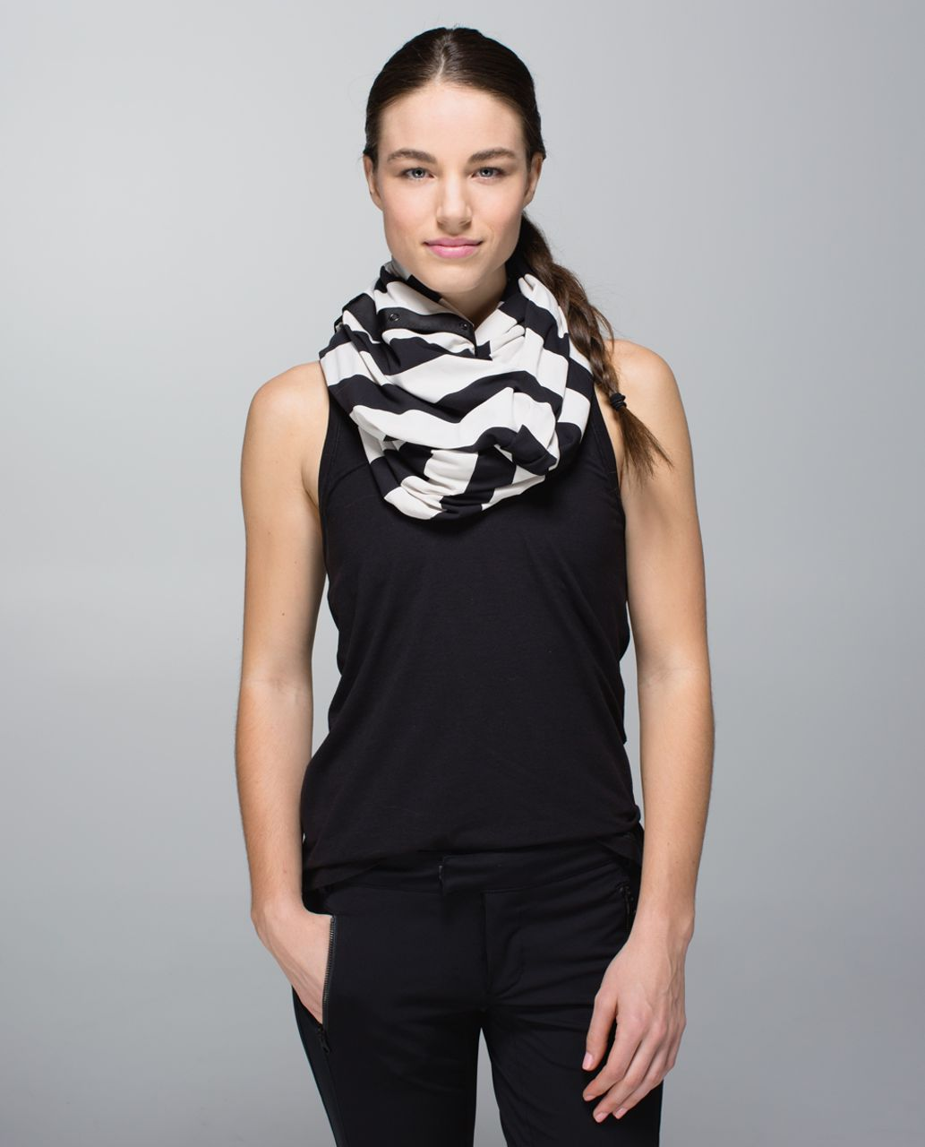 Lululemon Vinyasa Scarf *Rulu Light - Steep Stripe Black Heathered Dune Horizontal