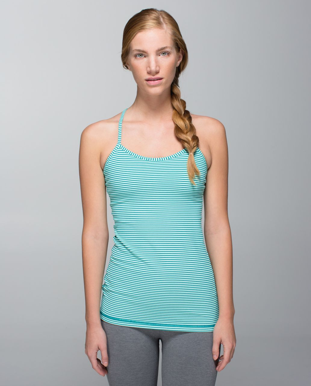 Lululemon Power Y Tank *Luon - Hyper Stripe Toothpaste Real Teal