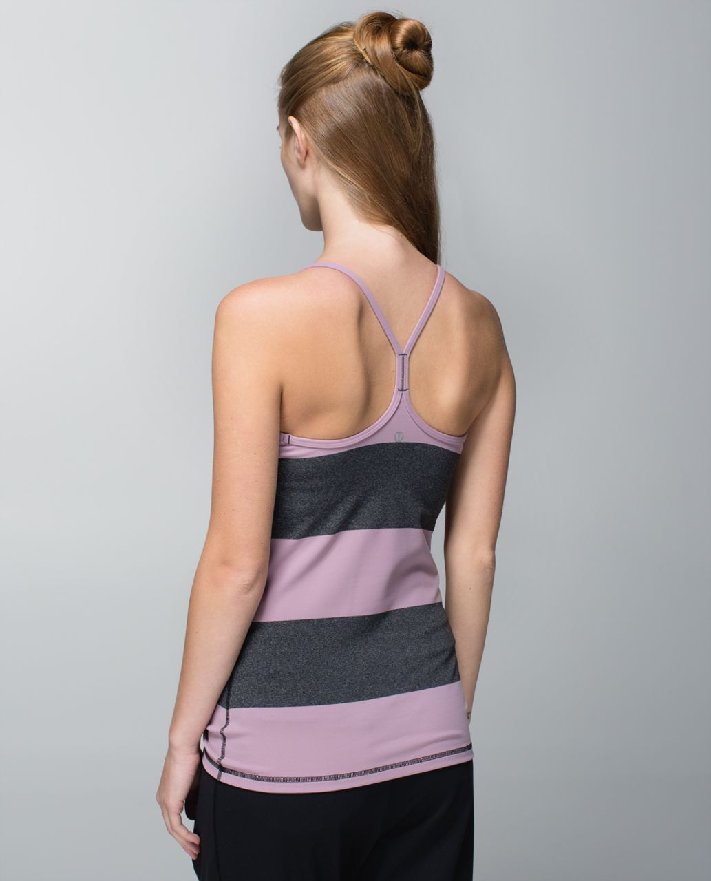 Lululemon Power Y Tank *Luon - Bold Stripe Mauvelous Heathered Black / Mauvelous